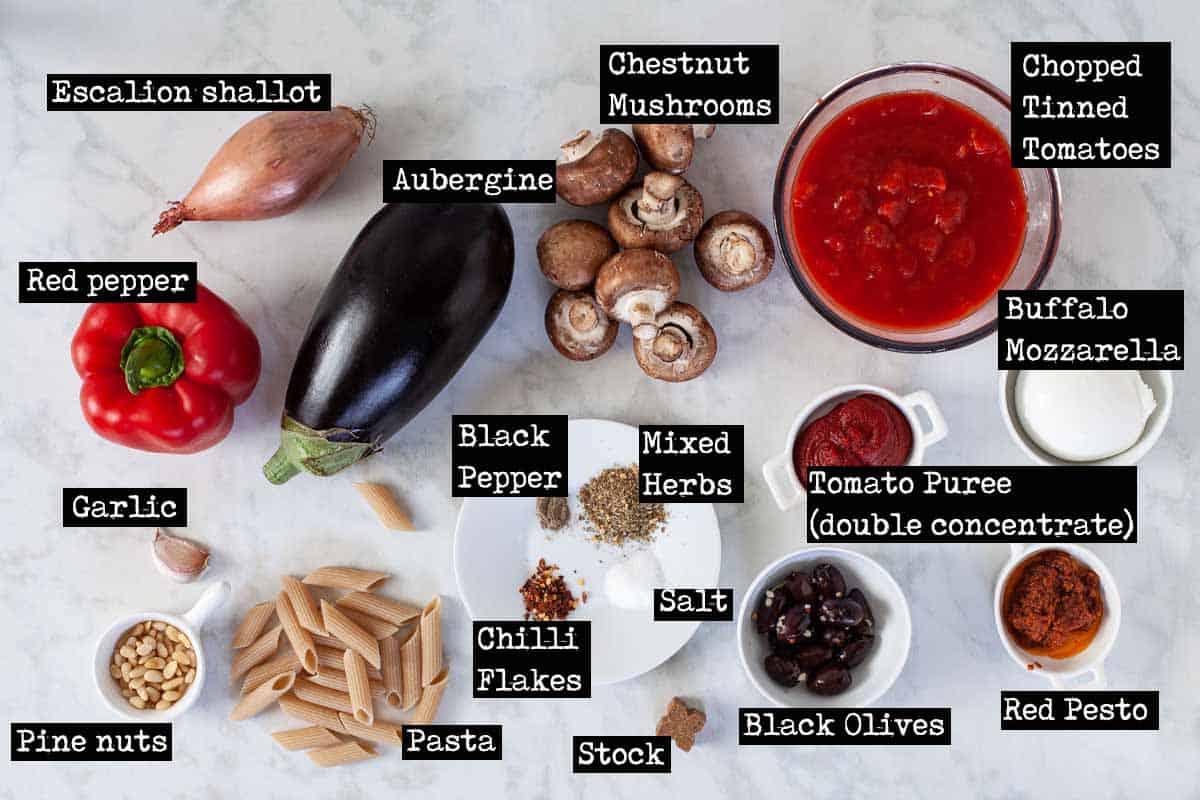Ingredients for aubergine pasta bake