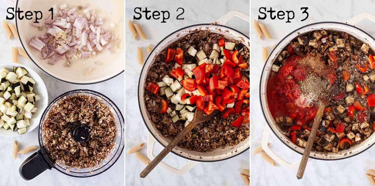 Step by step images for making aubergine pasta bake
