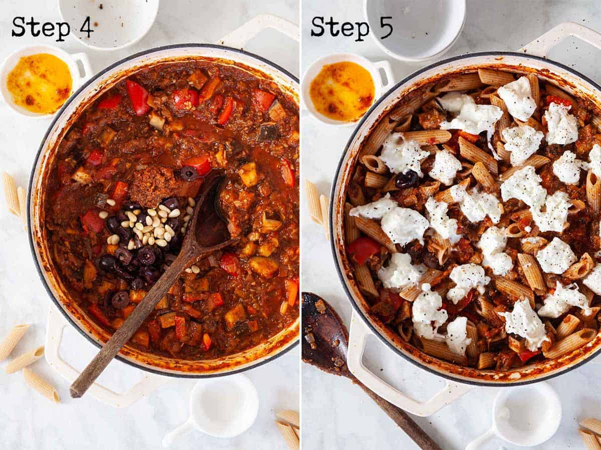 step by step images for making vegetarian aubergine pasta bake