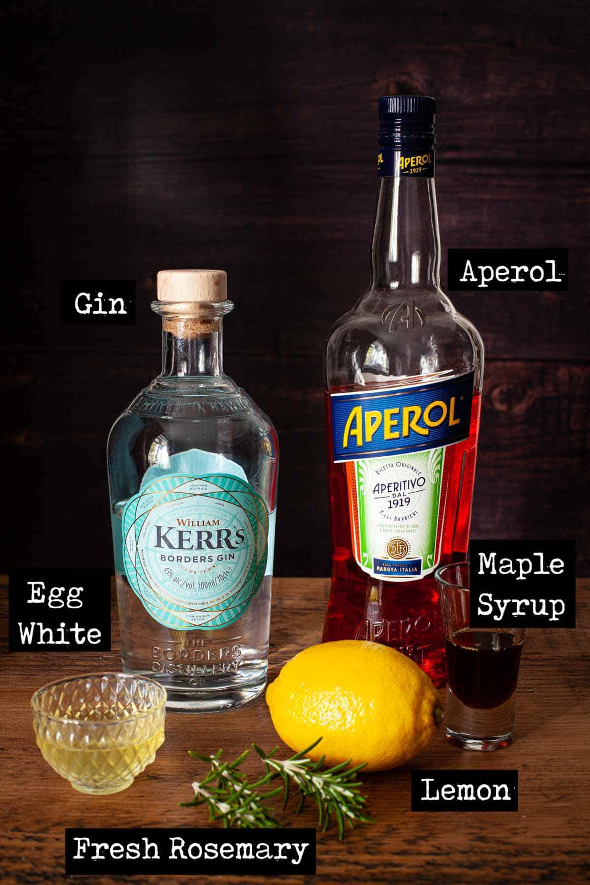 Ingredients for an Aperol Gin cocktail