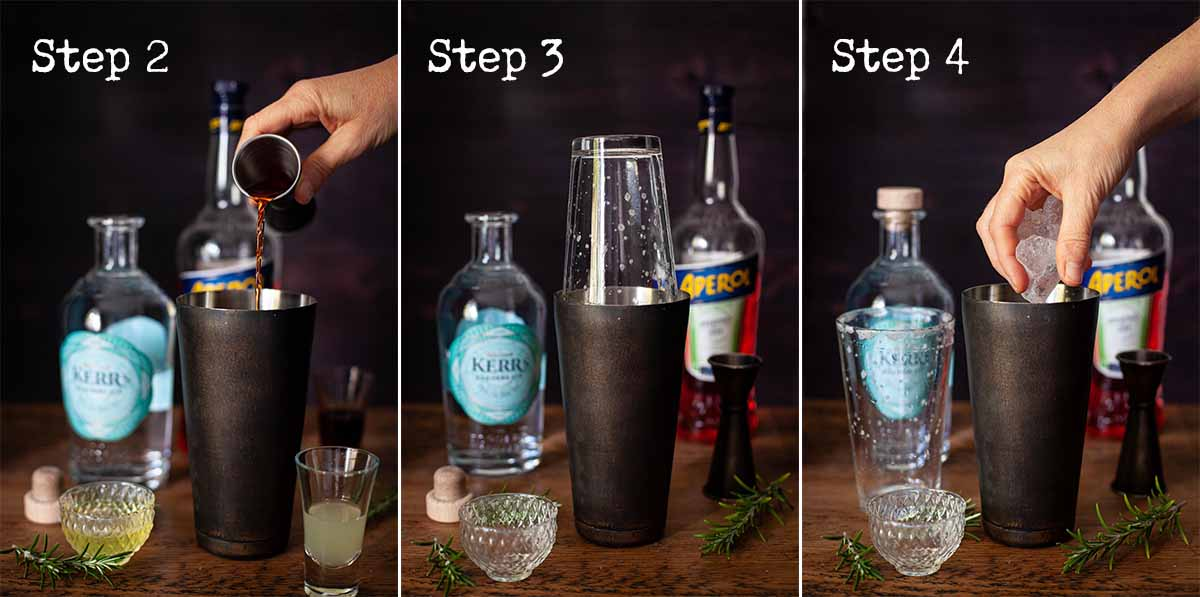 step by step image collage for making a cocktail with egg white