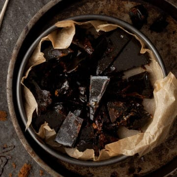 Bonfire toffee broken up in a tin