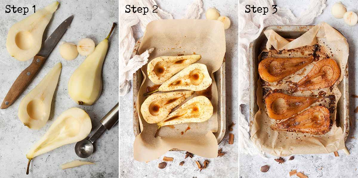 Step by step collage showing how to roast pears with chai spice