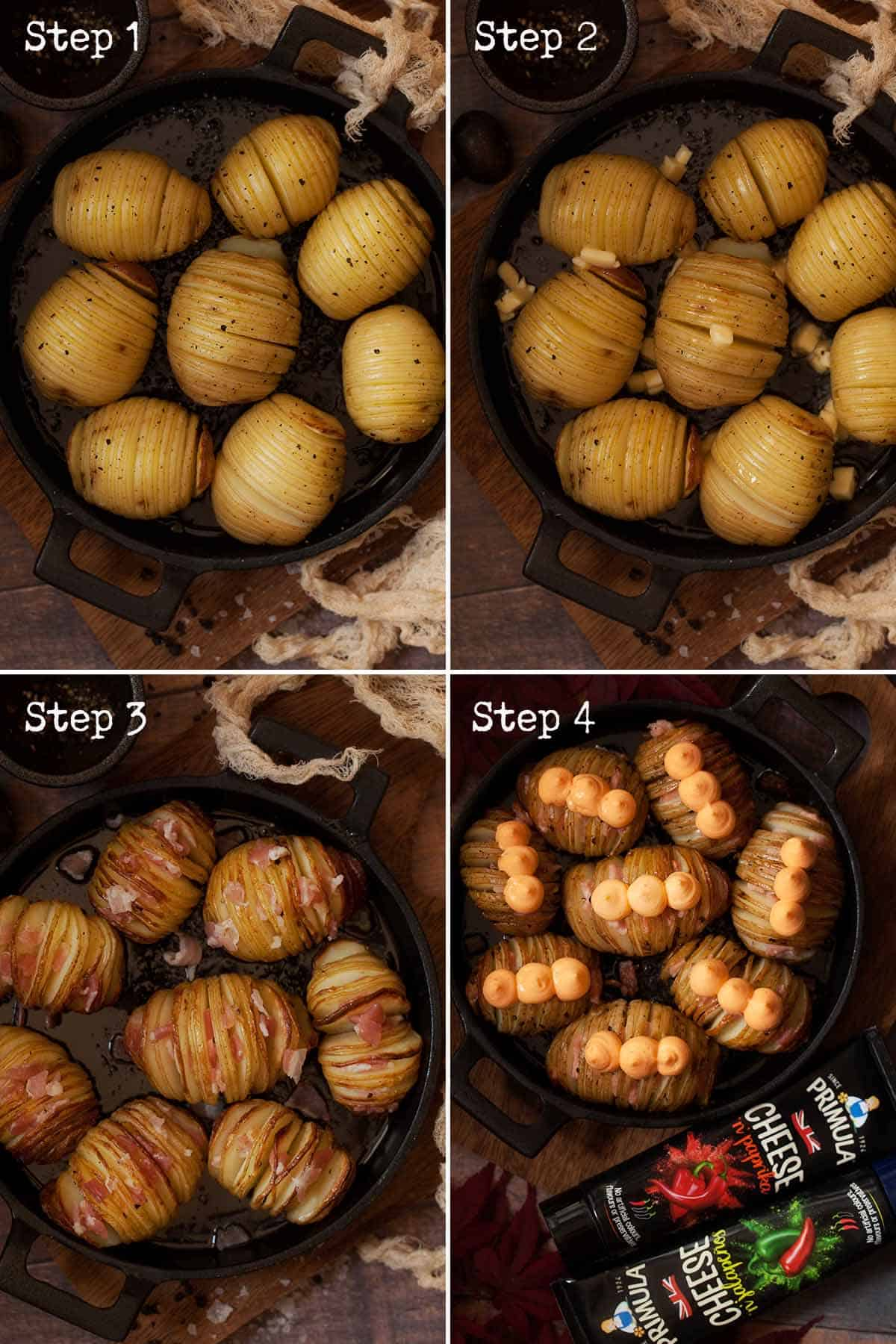 Collage of images showing cheesy hasselback potatoes being made