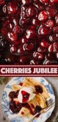 cherries jubilee collage of images with text overlay