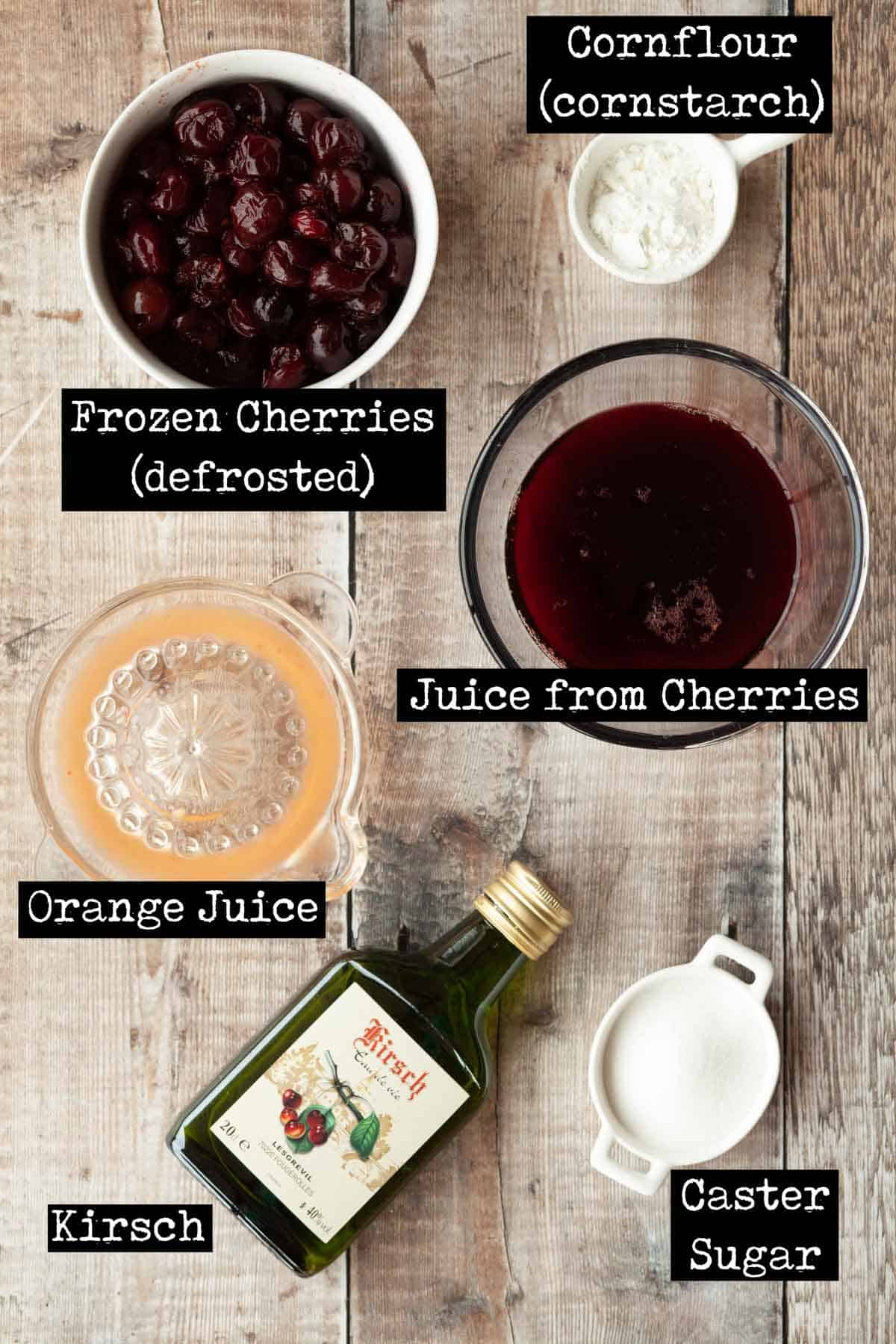 Ingredients for fruit sauce with text overlay