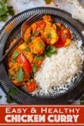 Healthy chicken and lentil curry with text overlay
