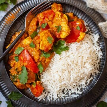 Chicken and Lentil curry with rice