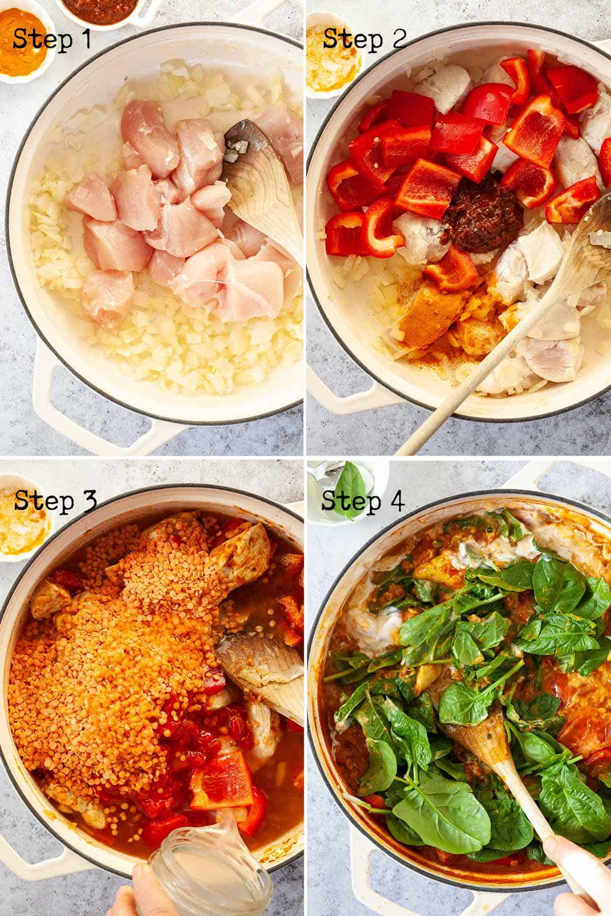 step by step collage showing a healthy chicken curry being made
