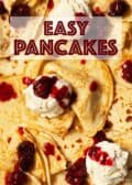 Panckes, ice ream and cherry sauce with text overlay