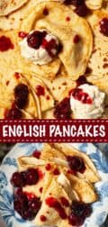English pancakes collage with text overlay
