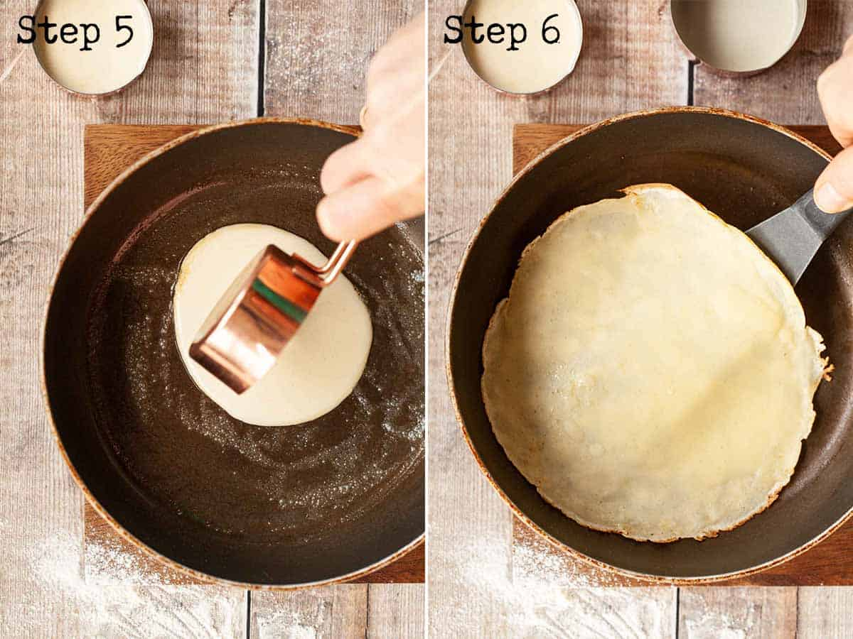Process images; Cooking batter in a frying pan to make crepes