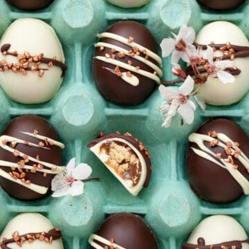 Homemade chocolate eggs in a gift box