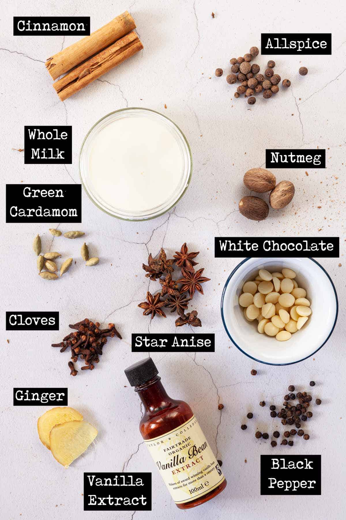 Ingredients for a chai white chocolate  drink with text overlay