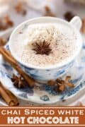 A cup of spiced hot chocolate with text overlay