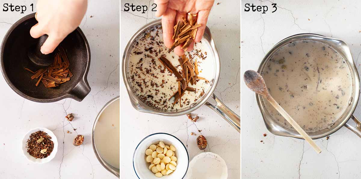 Step by step images showing spices being infused in milk