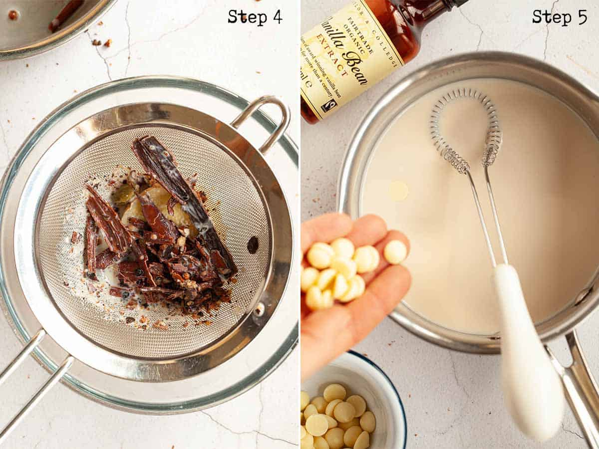 Step by step images: spices being strained from milk and chocolate being added milk