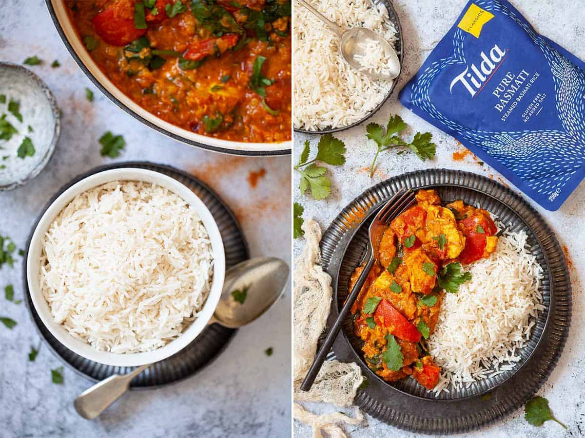 Two images showing recooked rice with Indian food