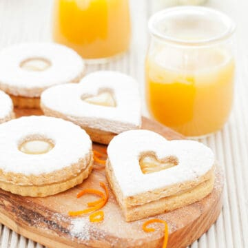 Linzer cookies with heart shaped centres