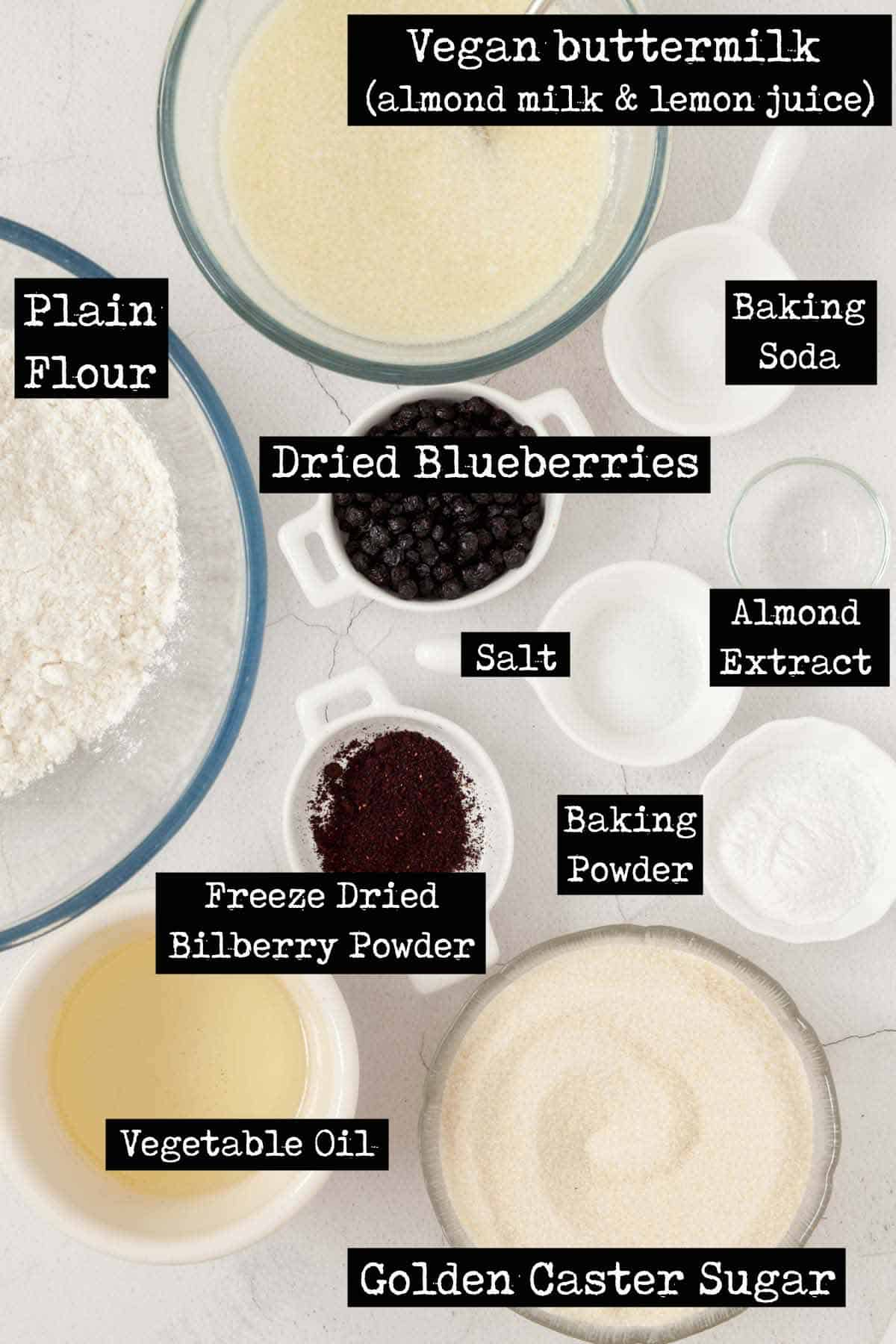 Ingredients for an eggless blueberry cake with with text overlay