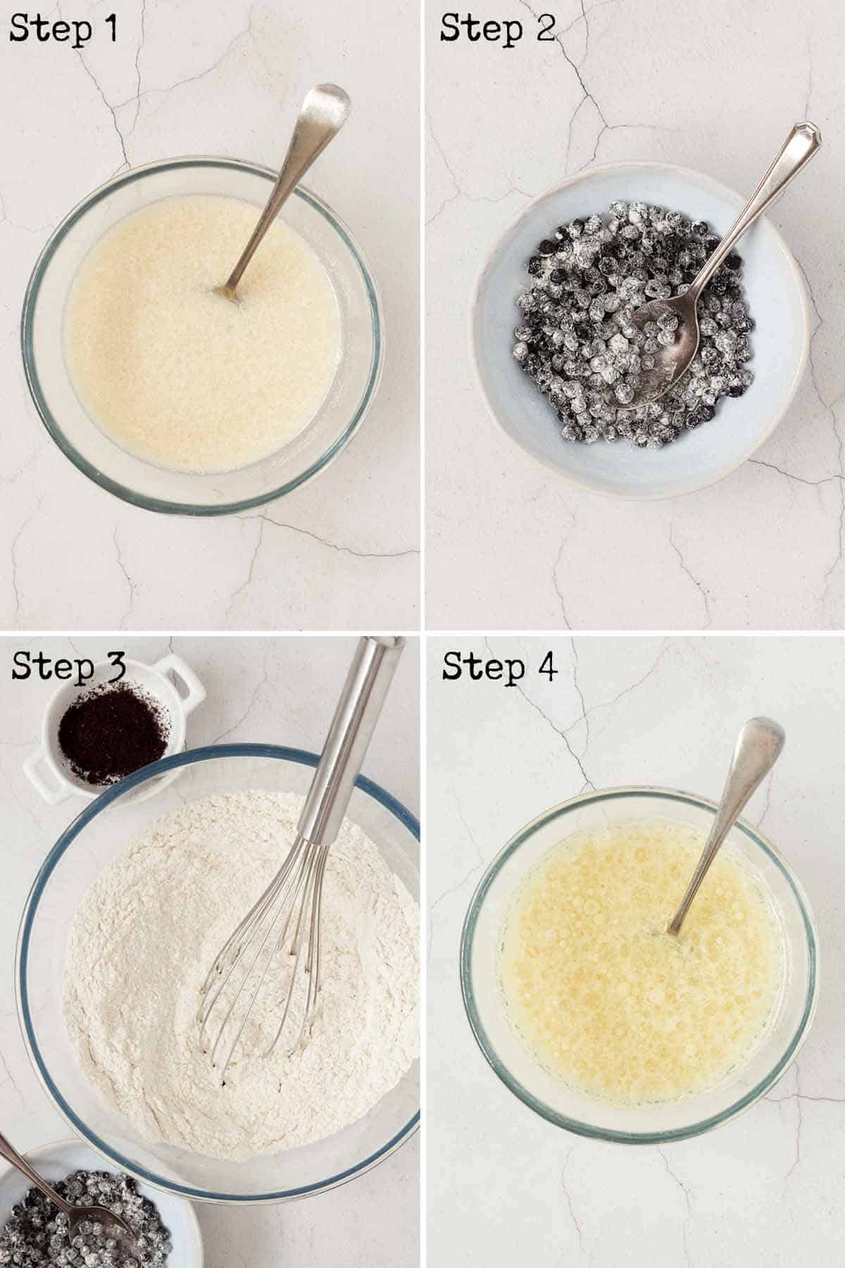 Collage of images showing vegan buttermilk, dried berries and flour in a bowl