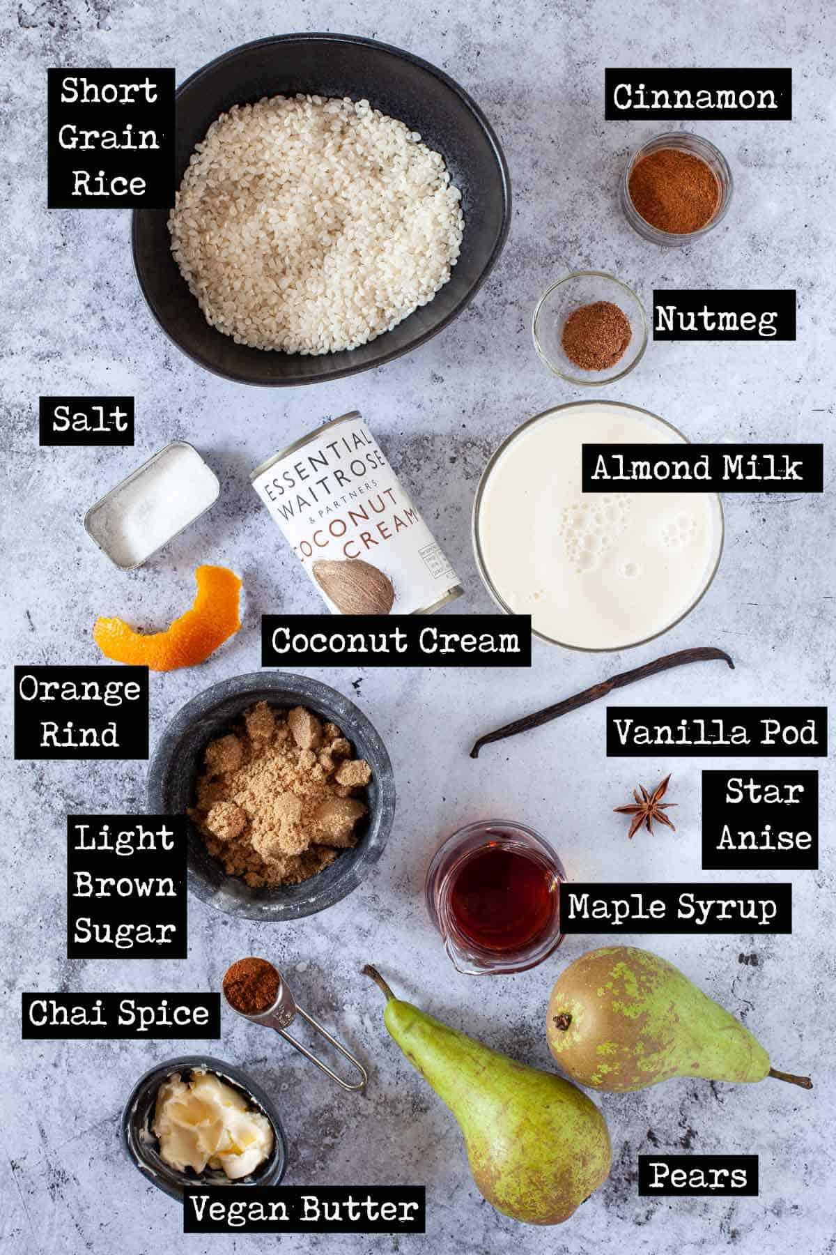 Ingredients for stovetop rice pudding with text overlay