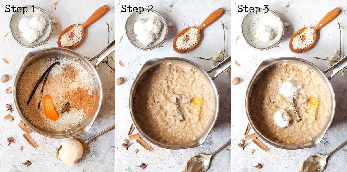 Collage of steps for making creamy rice dessert on the stovetop