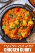 chicken lentil curry with text overlay
