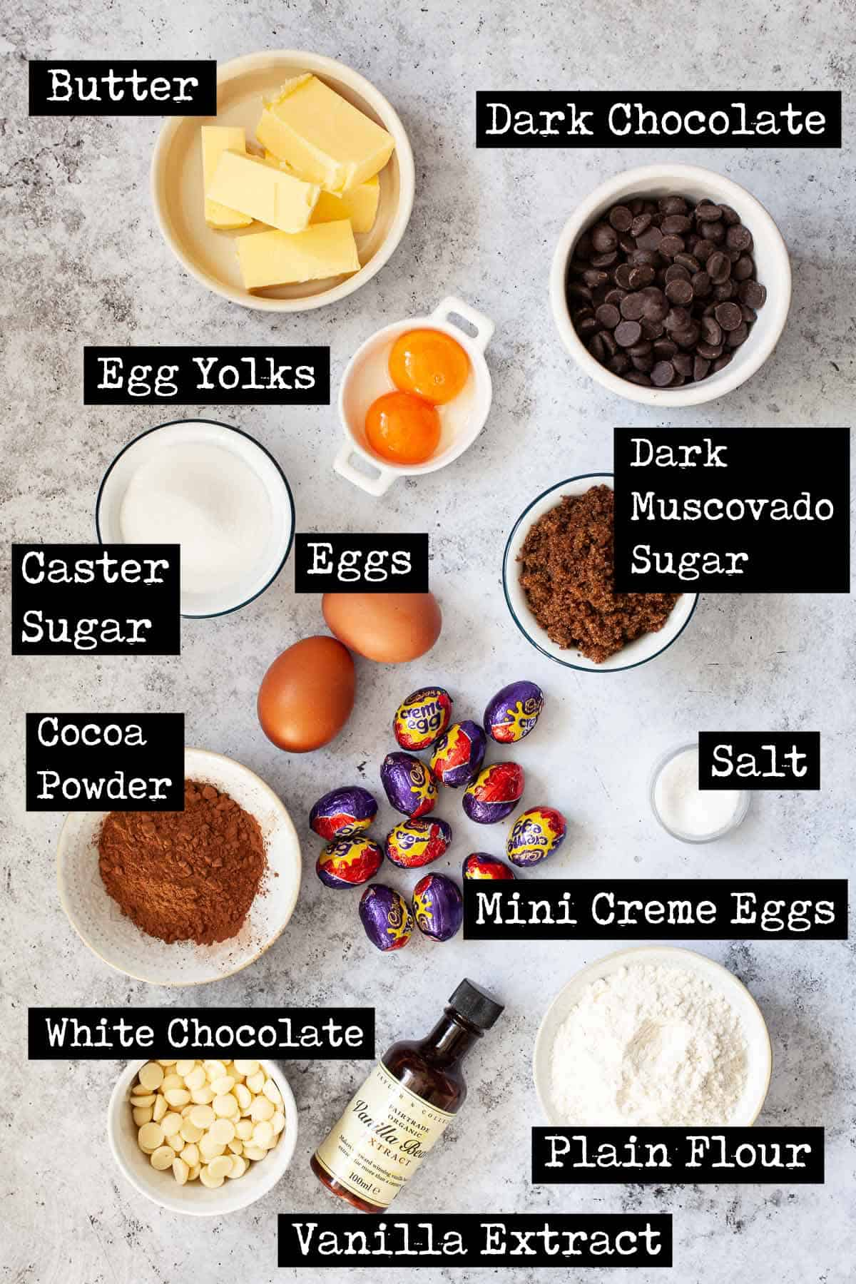 Ingredients for easter brownies with text overlay