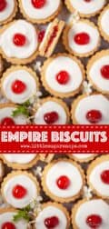 Overhead view of Empire Cookies with text overlay