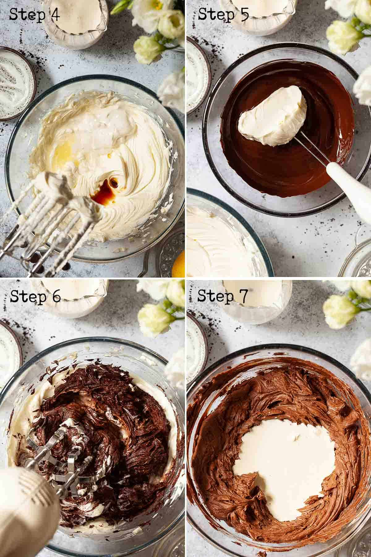 Collage of images showing a creamy no-bake chocolate cheesecake being mixed