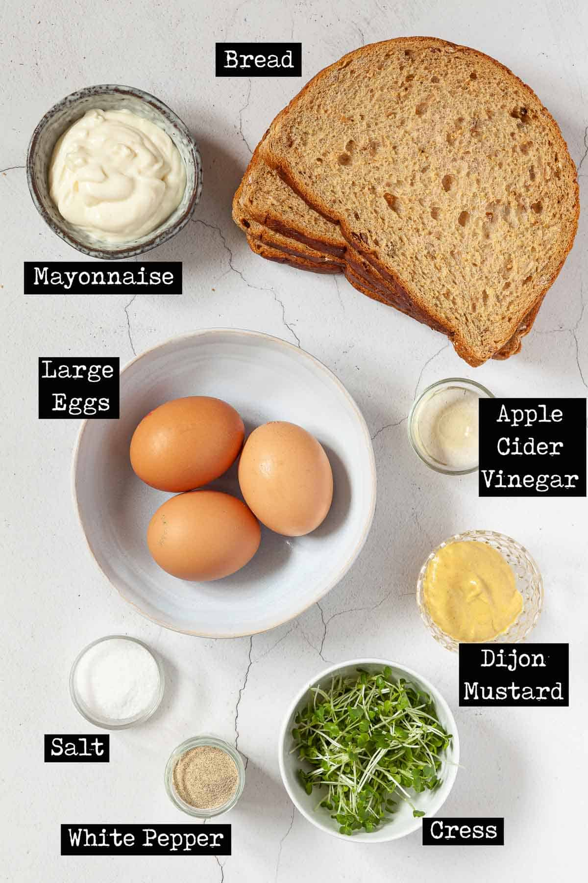Ingredients for egg and cress sandwich filling with text overlay