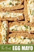 close up of egg mayo sandwiches with text overlay