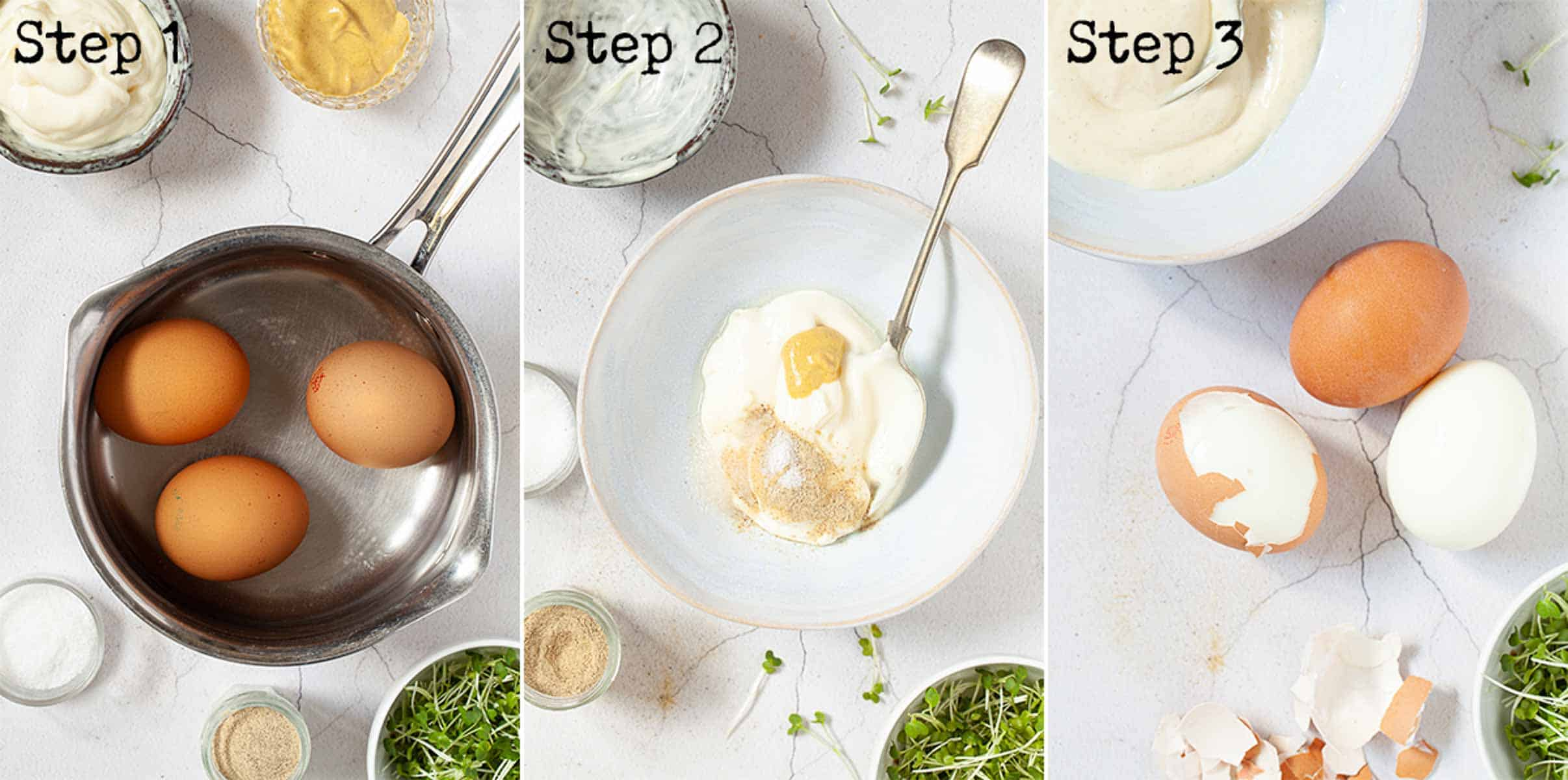 Collage of images showing eggs being boiled and shelled