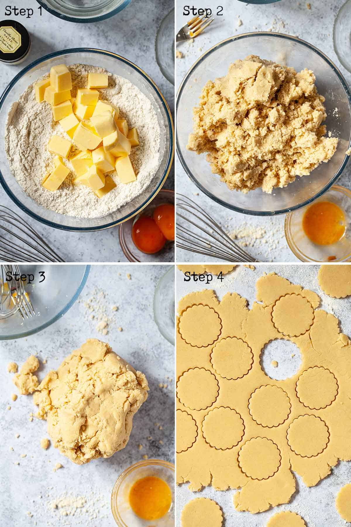 Step by step collage showing shortbread cookies being made