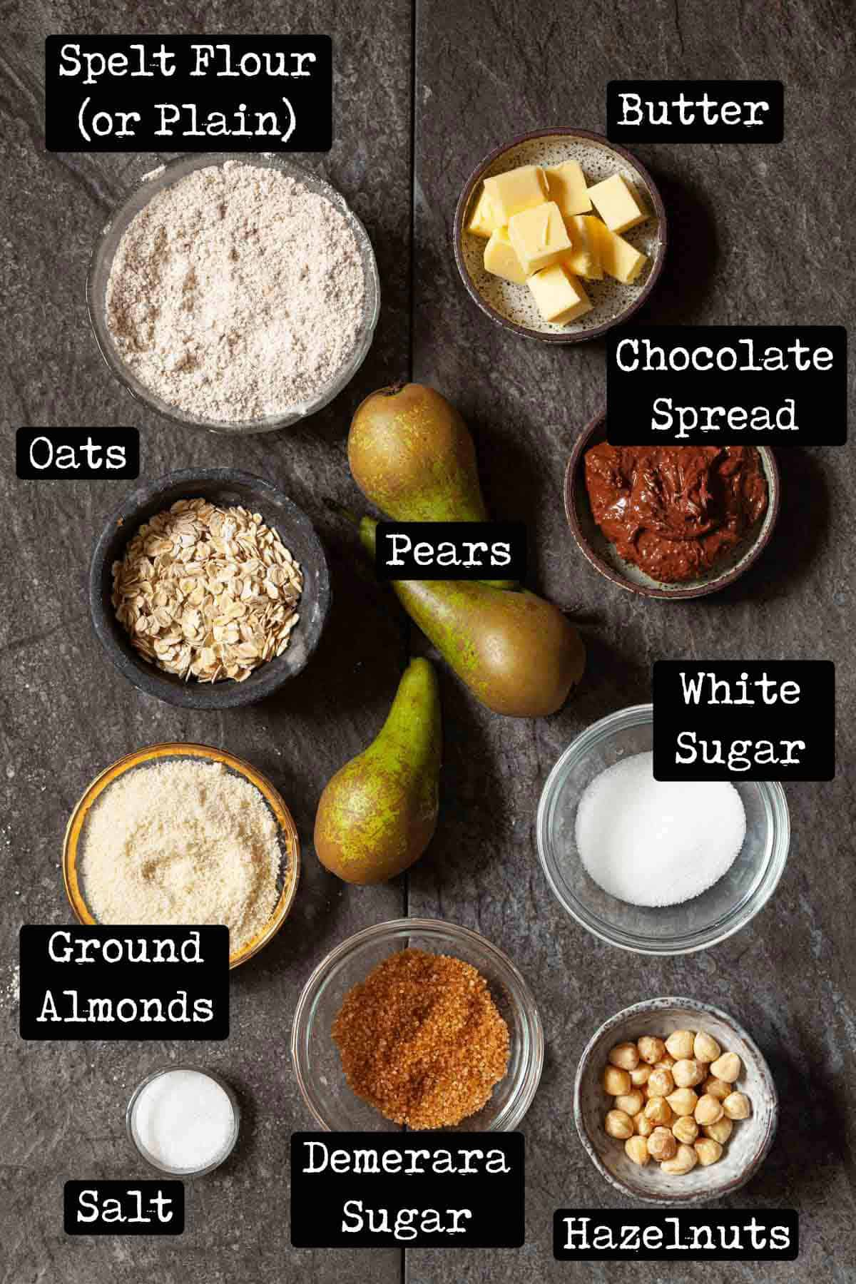 Ingredients for a fruit dessert with text overlay