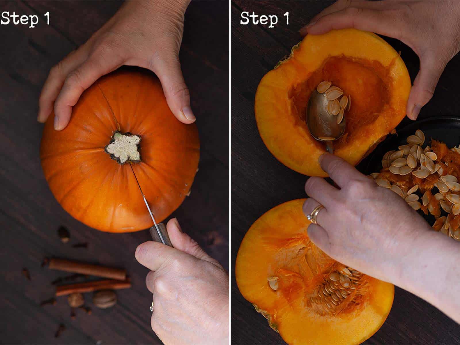 Two images showing a pumpkin being cut and prepared for roasting