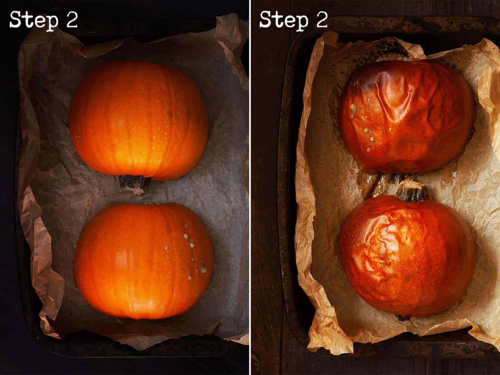 Two images showing pumpkin halves before and after roasting
