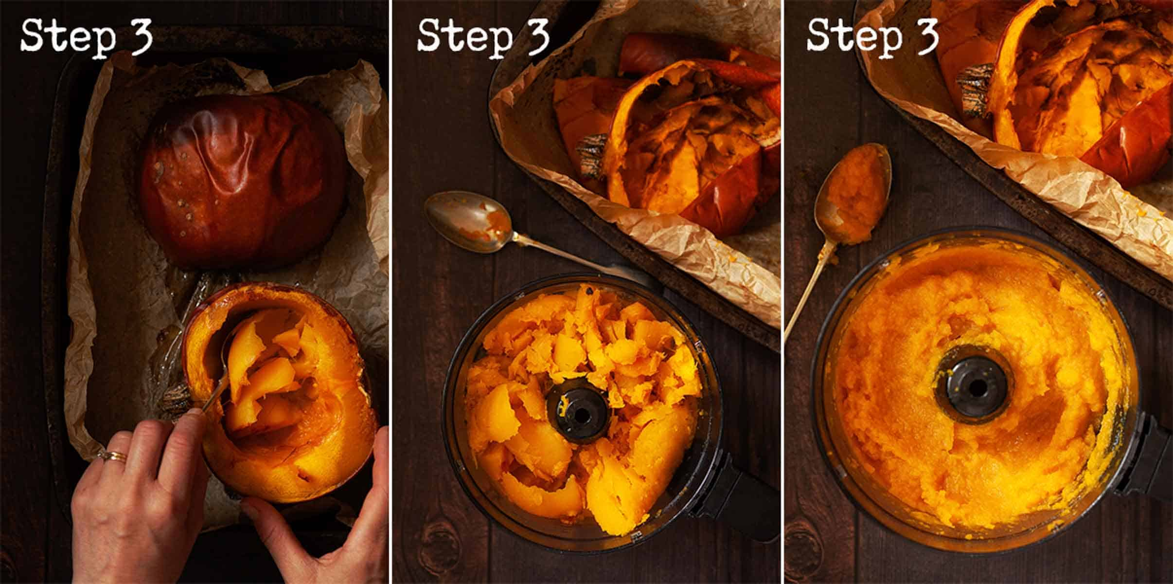 Collage of images showing pumpkin flesh being scooped out and pureed
