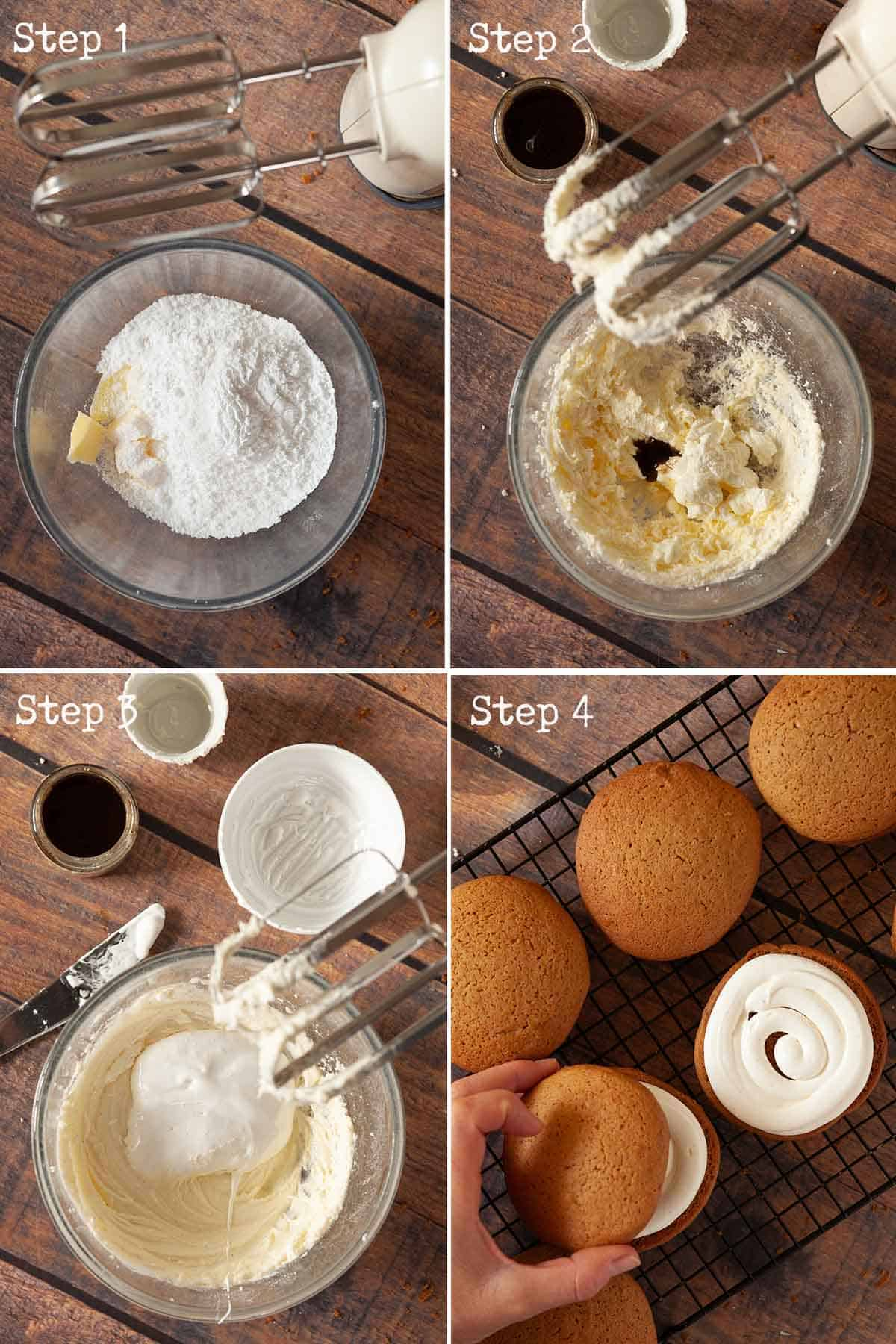 Collage of images showing buttercream being made and used to fill small cakes