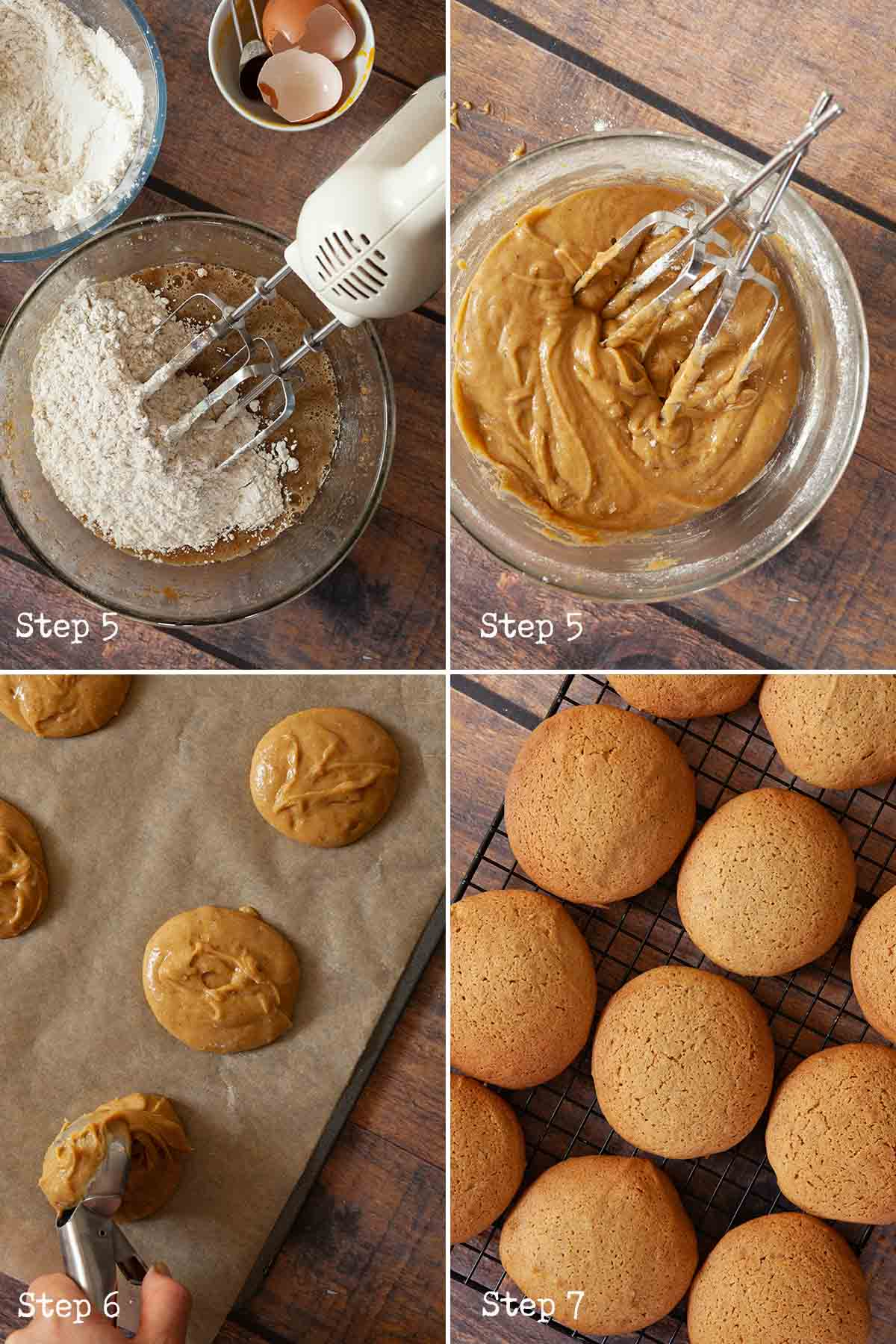 Collage of images showing cake batter being made and baked