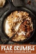 Pear crumble and cream with text overlay