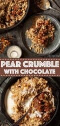 Collage of images for pear crumble with text overlay