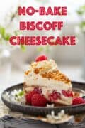 Biscoff cheesecake with text overlay