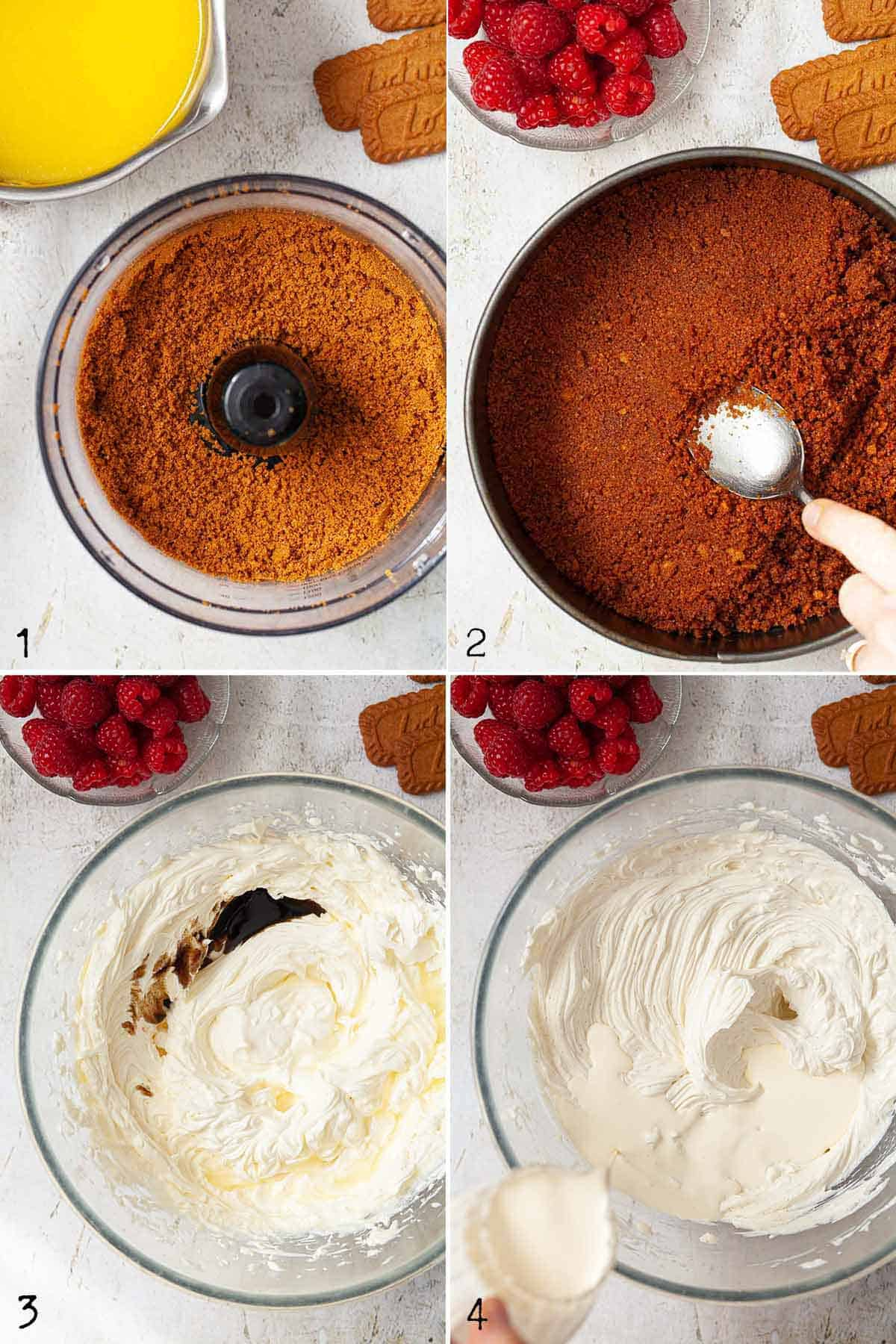 Image collage showing a biscuit crumb base and a cream cheese filling being mixed