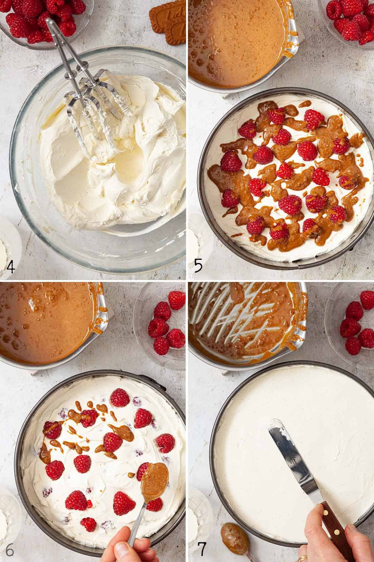 Image collage showing a speculoos cheesecake being assembled in a baking tin