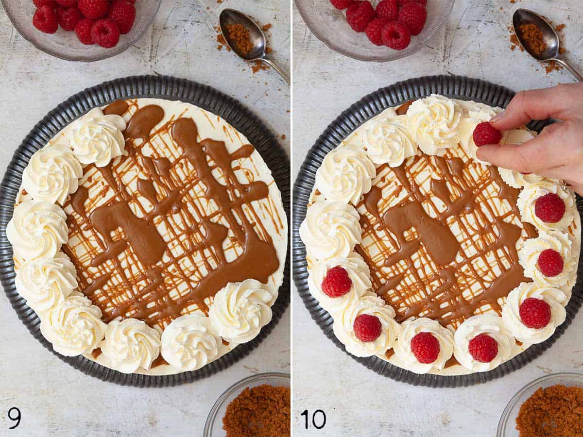 Collage of images showing a speculoos cheesecake being decorate with sauce, cream and raspberries
