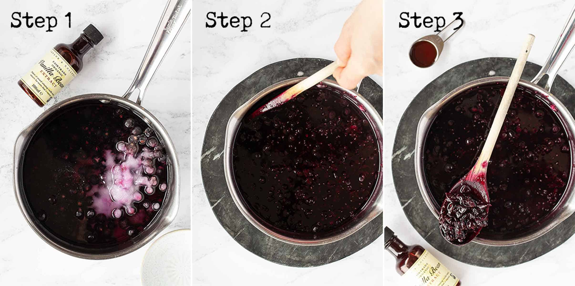 Step by step images to making fruit syrup in a saucepan