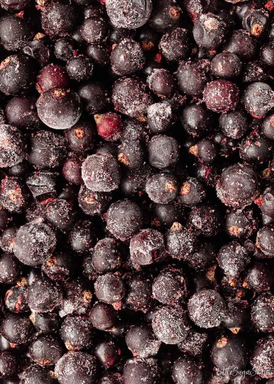 Close-up of frozen blackcurrants