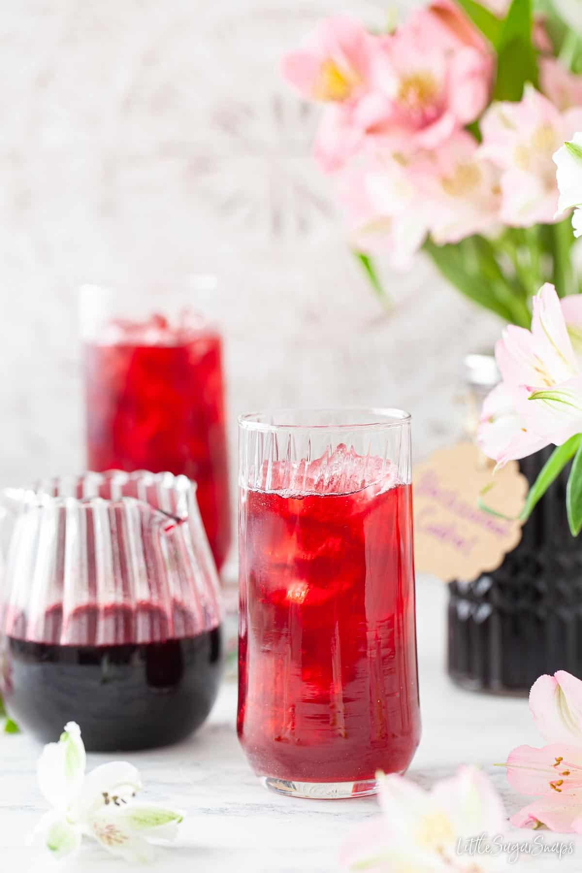 Glasses filled with diluted blackcurrant cordial and ice with a jug of cordial alongside